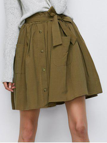 Buy Button Up Belted Mini Skirt With Pockets ARMY GREEN ONE SIZE