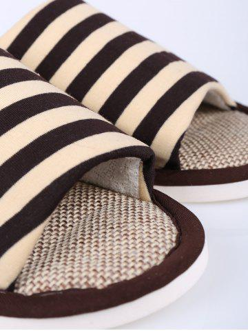 Cheap Stripes Color Block House Slippers - SIZE(43-44) COFFEE Mobile