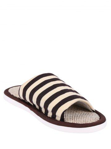 Latest Stripes Color Block House Slippers - SIZE(43-44) COFFEE Mobile