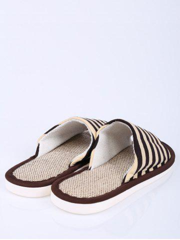 Fashion Stripes Color Block House Slippers - SIZE(43-44) COFFEE Mobile