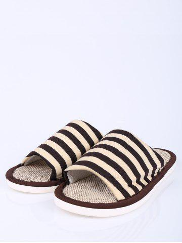 Affordable Stripes Color Block House Slippers - SIZE(43-44) COFFEE Mobile