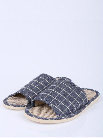 Unique Checked Color Block House Slippers - SIZE(41-42) DEEP BLUE Mobile