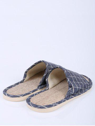 Fashion Checked Color Block House Slippers - SIZE(41-42) DEEP BLUE Mobile
