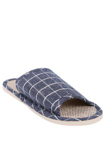 Unique Checked Color Block House Slippers - SIZE(43-44) DEEP BLUE Mobile