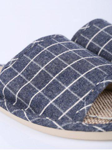 Sale Checked Color Block House Slippers - SIZE(43-44) DEEP BLUE Mobile