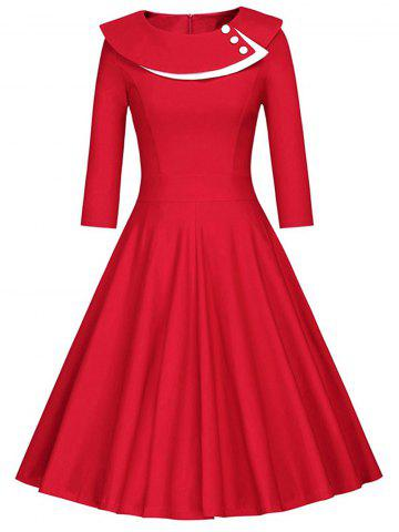 Cheap Button Layered Swing Midi Dress - L RED Mobile
