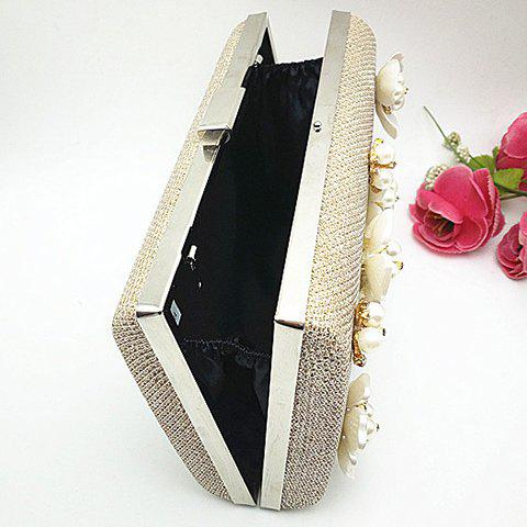 Cheap Beaded Clutch Evening Bag - CHAMPAGNE  Mobile