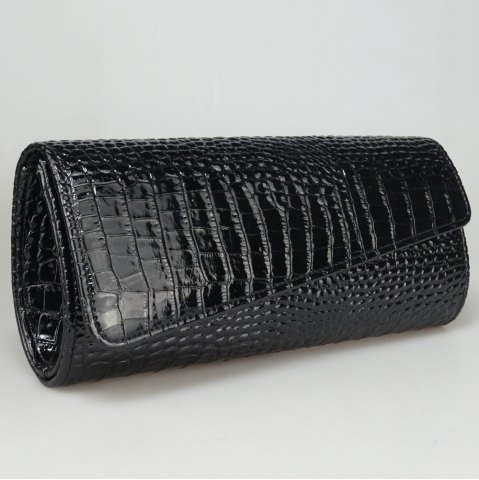 Cheap Flapped Crocodile Pattern Evening Bag - BLACK  Mobile