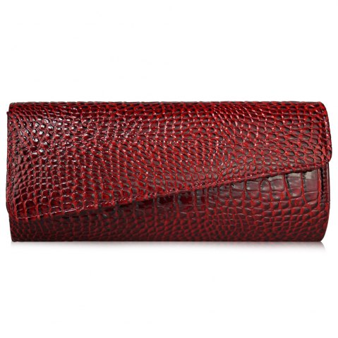 Best Flapped Crocodile Pattern Evening Bag - RED  Mobile