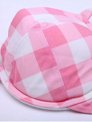 Fancy Plaid Padded Push Up Bikini Top - M PINK Mobile