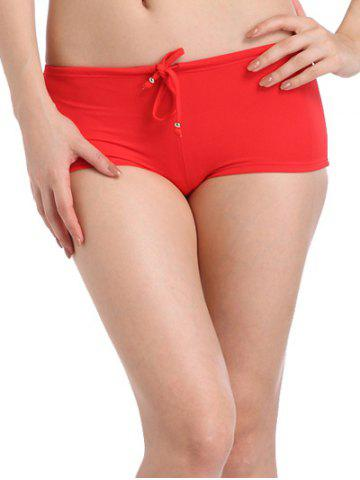 Seamless Drawstring Swimsuit Boy Shorts Bottoms - Red - S