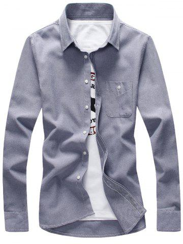 Outfits Plus Size Pocket Long Sleeve Shirt - M GRAY Mobile