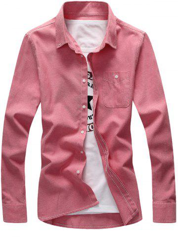 Fashion Plus Size Pocket Long Sleeve Shirt - 4XL PINK Mobile