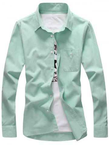 Outfit Plus Size Pocket Long Sleeve Shirt - 2XL GREEN Mobile