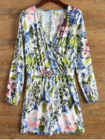 Buy Wrap Floral Long Sleeve Romper - Blue XL