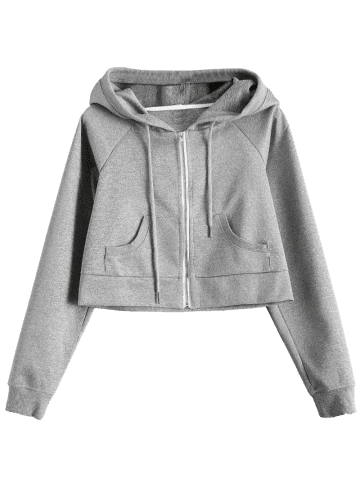 Shop Hooded Cropped Sports Jacket - XL GRAY Mobile