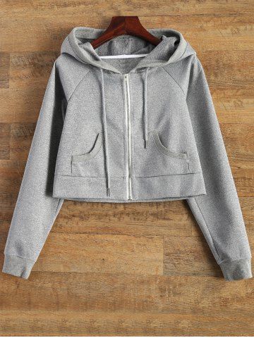 Chic Hooded Cropped Sports Jacket - XL GRAY Mobile