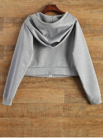 Discount Hooded Cropped Sports Jacket - XL GRAY Mobile