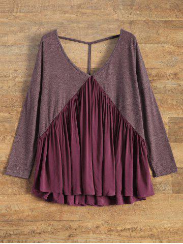 Affordable Low Cut Backless Swing Tee WINE RED S