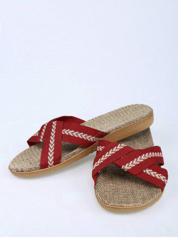 Affordable Color Block Linen Slippers - DEEP RED SIZE(39-40) Mobile