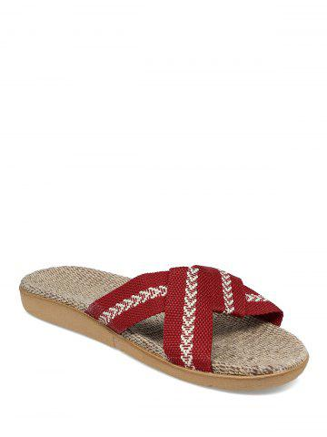 Online Color Block Linen Slippers - DEEP RED SIZE(39-40) Mobile