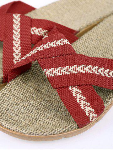 Best Color Block Linen Slippers - DEEP RED SIZE(39-40) Mobile