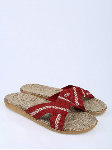 Latest Color Block Linen Slippers - DEEP RED SIZE(39-40) Mobile