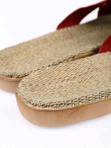 Shops Color Block Linen Slippers - DEEP RED SIZE(39-40) Mobile