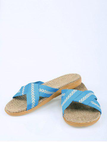 Unique Color Block Linen Slippers - SIZE(37-38) AZURE Mobile