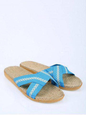 Affordable Color Block Linen Slippers - SIZE(37-38) AZURE Mobile