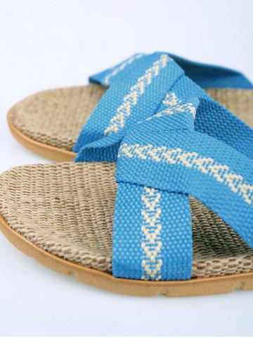 Shops Color Block Linen Slippers - SIZE(37-38) AZURE Mobile