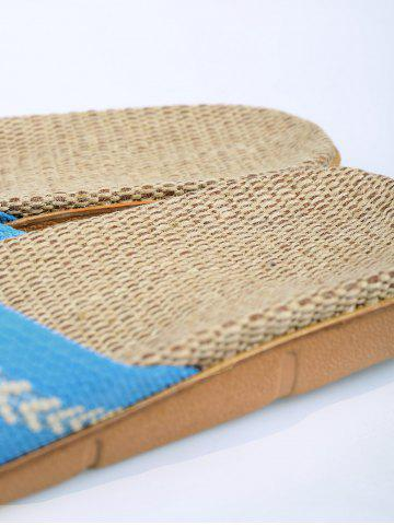 Outfit Color Block Linen Slippers - SIZE(37-38) AZURE Mobile