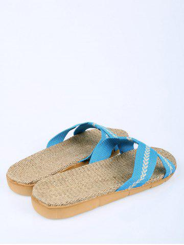 Best Color Block Linen Slippers - SIZE(37-38) AZURE Mobile