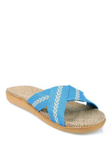 Affordable Color Block Linen Slippers