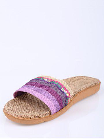 Best Striped Flowers Indoor Slippers - SIZE(37-38) PURPLE Mobile
