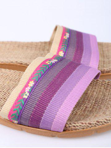 Chic Striped Flowers Indoor Slippers - SIZE(37-38) PURPLE Mobile