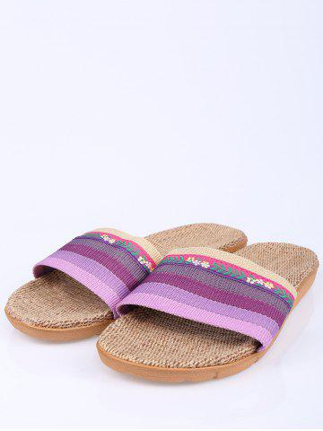 Outfit Striped Flowers Indoor Slippers - PURPLE SIZE(39-40) Mobile