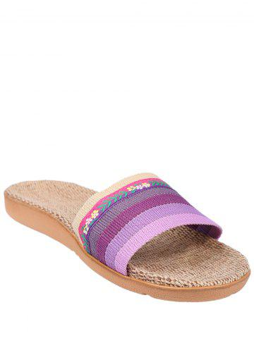 Best Striped Flowers Indoor Slippers - PURPLE SIZE(39-40) Mobile