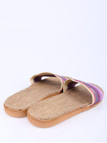 Chic Striped Flowers Indoor Slippers - PURPLE SIZE(39-40) Mobile