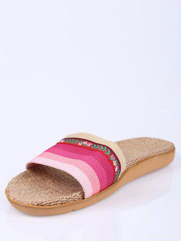 Chic Striped Flowers Indoor Slippers - PINK SIZE(39-40) Mobile