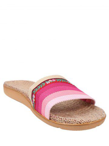 Outfit Striped Flowers Indoor Slippers - PINK SIZE(39-40) Mobile