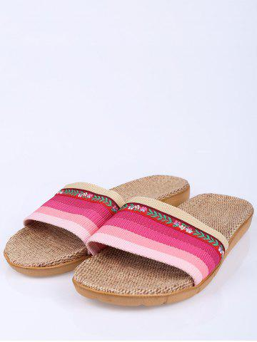 Discount Striped Flowers Indoor Slippers - PINK SIZE(39-40) Mobile