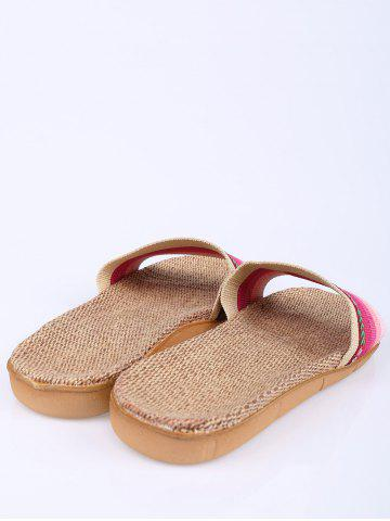 Shop Striped Flowers Indoor Slippers - PINK SIZE(39-40) Mobile