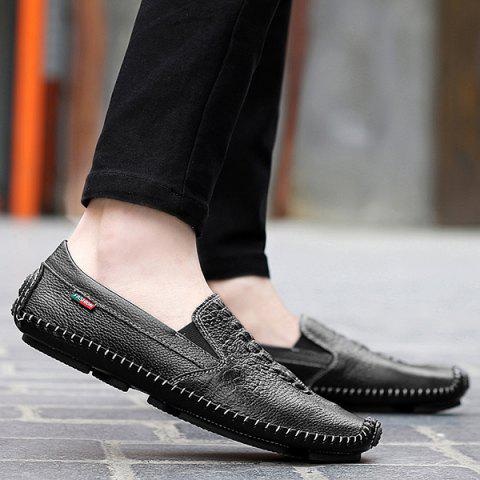Outfit Embossed Faux Leather Slip On Sneakers - 43 BLACK Mobile