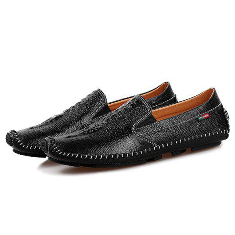 Chic Embossed Faux Leather Slip On Sneakers - 43 BLACK Mobile