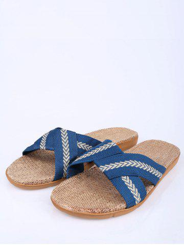 Chic Linen Color Block Slippers - SIZE(44-45) BLUE Mobile