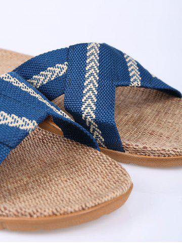 Buy Linen Color Block Slippers - SIZE(44-45) BLUE Mobile