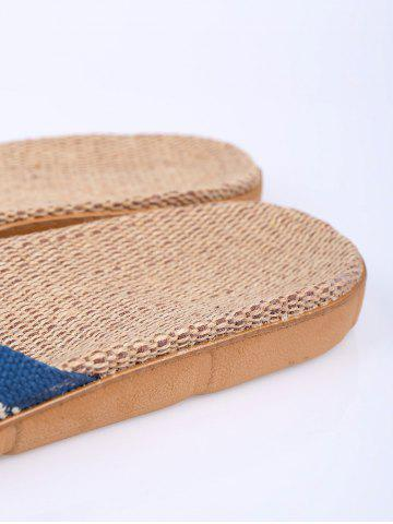 Hot Linen Color Block Slippers - SIZE(44-45) BLUE Mobile