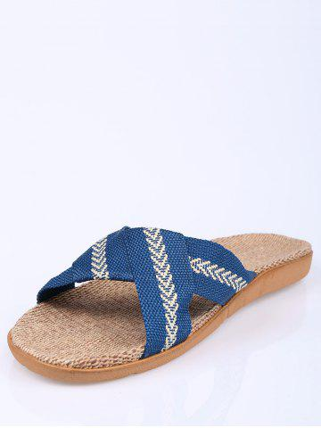 Outfit Linen Color Block Slippers - SIZE(44-45) BLUE Mobile