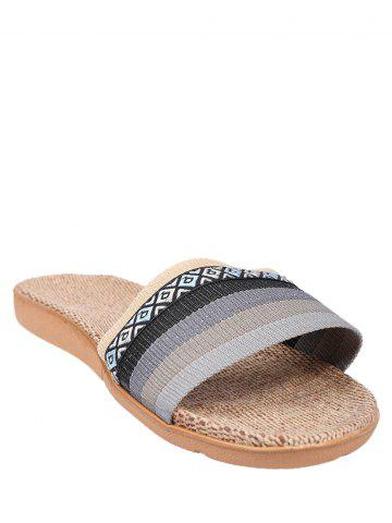 Chic Striped Ombre House Slippers GRAY SIZE(44-45)